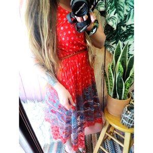 Bohemian paisley print lace dress 🌿